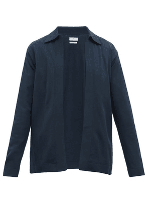 Deveaux - Collared Textured Jersey Cardigan - Mens - Navy
