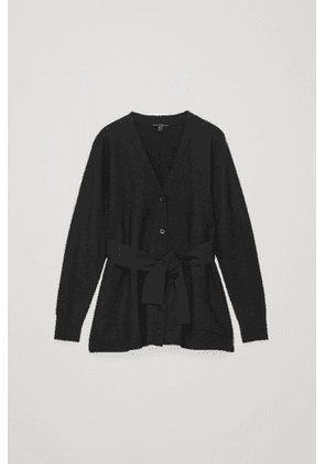 BOILED WOOL CARDIGAN WITH TIE