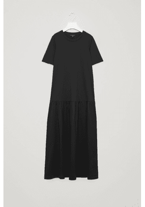 LONG COTTON DRESS WITH FRILL