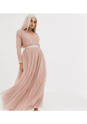 ASOS DESIGN Petite lace sleeve plunge tulle maxi dress with embellished waist trim detail-Pink