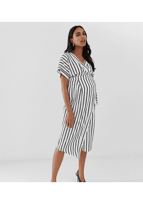 ASOS DESIGN Maternity wrap midi dress in stripe print-Multi
