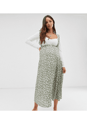 ASOS DESIGN Maternity midi pinafore skirt in floral print-Multi