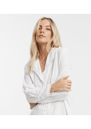 ASOS DESIGN Petite long sleeve blouse with frill collar-White
