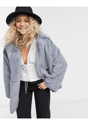 Free People solid kate faux fur coat in grey-White