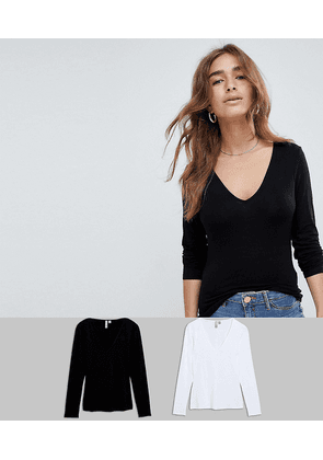 ASOS DESIGN Petite ultimate top with long sleeve and v-neck 2 pack SAVE-Multi