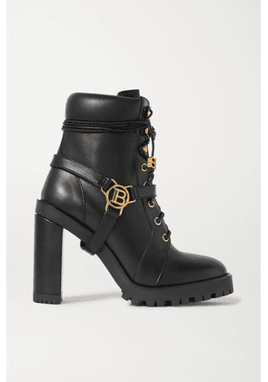 Balmain - Ranger Buckle-detailed Leather Ankle Boots - Black