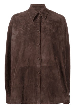 Loewe button-up leather shirt - Brown