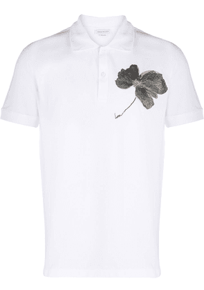 Alexander McQueen embroidered flower polo shirt - White