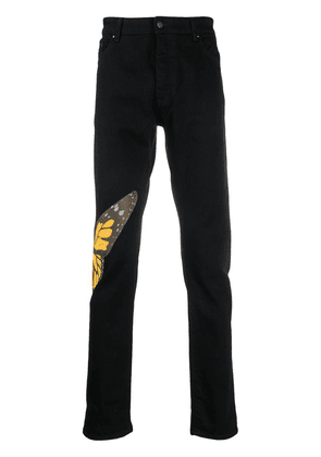 Palm Angels Butterfly straight-leg jeans - Black