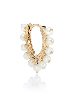 Eternity 14kt gold and pearl single earring