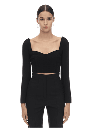 Cropped Double Crepe Top