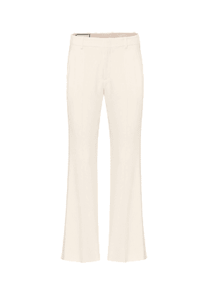 Embroidered stretch-cady pants