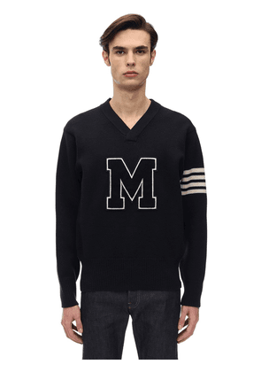 Striped V-neck Patch Wool Sweater