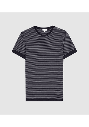 Reiss Ray - Striped Crew Neck T-shirt in Navy/white, Mens, Size XS