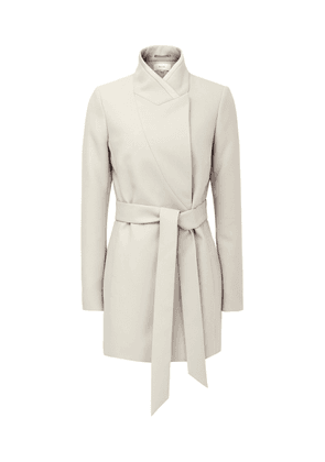 Reiss Clarence - Satin Faced Belted Jacket in Neutral, Womens, Size 4
