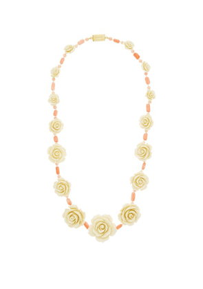 Prada - Rose And Bead Necklace - Womens - Coral
