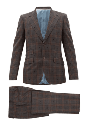Gucci - Jacquard-motif Checked Wool Two-piece Suit - Mens - Brown Multi