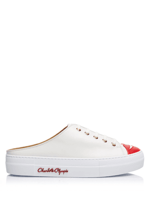 Charlotte Olympia Sneakers Women - KISS ME SNEAKER MULES OFF WHITE & RED Calfskin 40