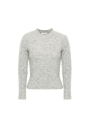 Sandro Cropped Ribbed And Cable-knit Sweater Woman Light gray Size 3