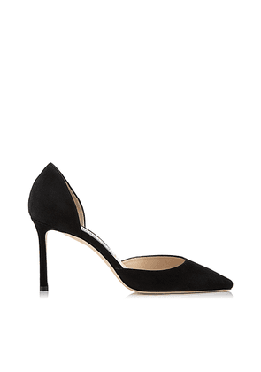 ESTHER 85 Black Suede Pointed Pumps