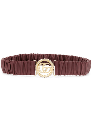 Gucci logo buckle elasticated belt - Brown