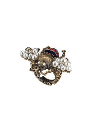 Gucci Bee ring with crystals and pearls - GOLD