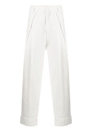 Ann Demeulemeester cropped tapered trousers - White
