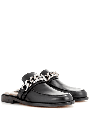 Chain leather slippers