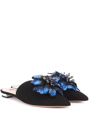 Disco Flower suede slippers