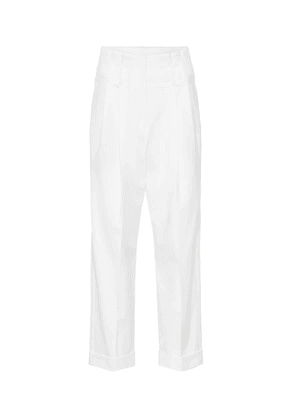 High-rise straight wool blend pants