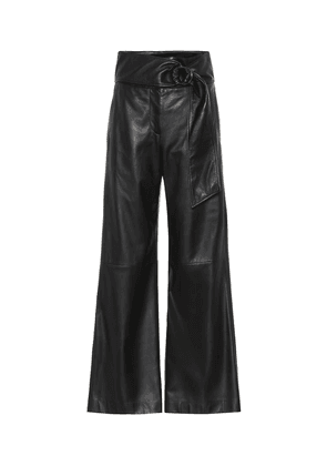 High-rise leather wide-leg pants