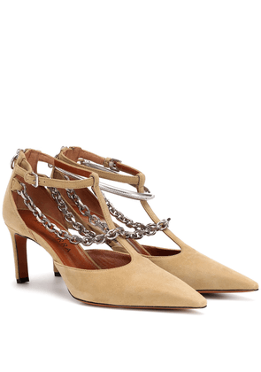 Chain-trimmed suede pumps