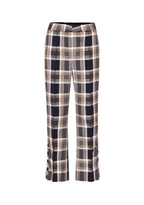 Checked high-rise flared pants