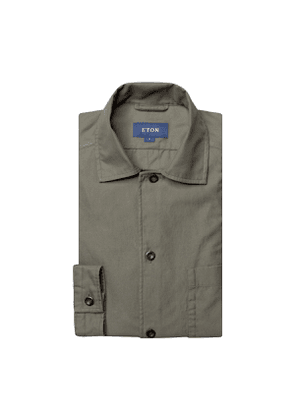 Green Cotton 3-Pocket Overshirt