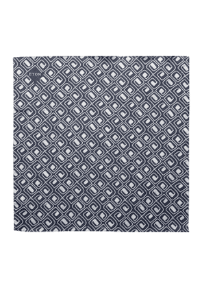 Black Silk Block Print Bandana