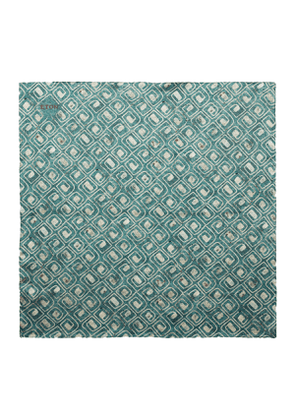 Green Silk Block Print Bandana
