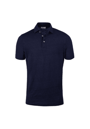 Navy Linen Polo Shirt
