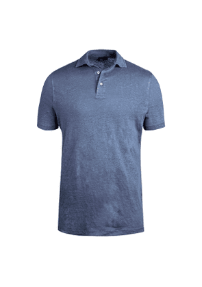 Blue Linen Polo Shirt