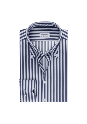 Navy Striped Cotton Slim Shirt