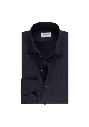 Navy Seersucker Cotton Slim Shirt