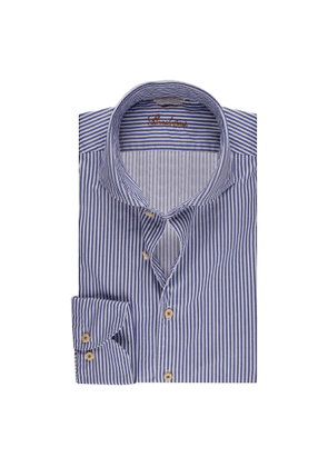 Blue Striped Cotton Slim Shirt