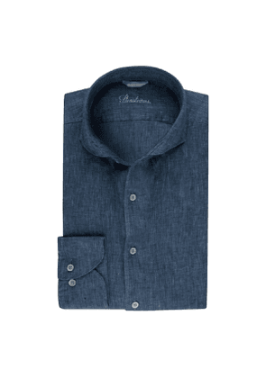 Blue Linen Slim Shirt