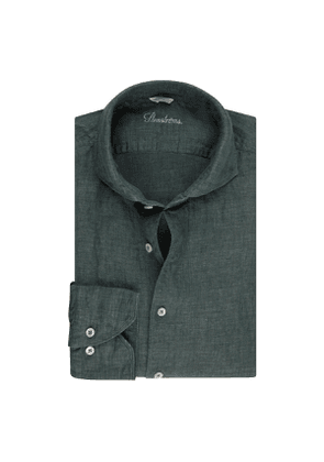 Dark Green Linen Slim Shirt