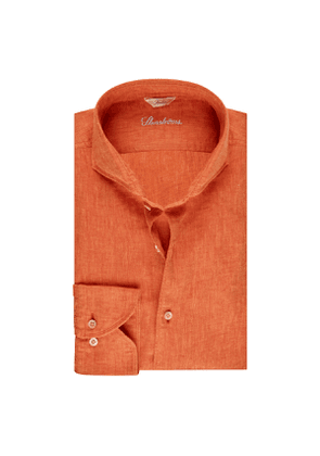 Orange Linen Slim Shirt