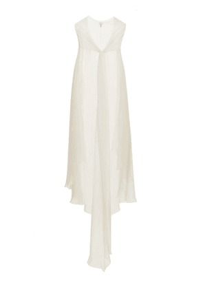 Carine Gilson - Lace-trimmed Silk Georgette Cape - Womens - Ivory