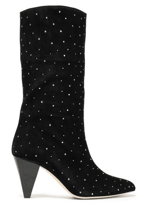 Sandro Crystal-embellished Suede Boots Woman Black Size 38
