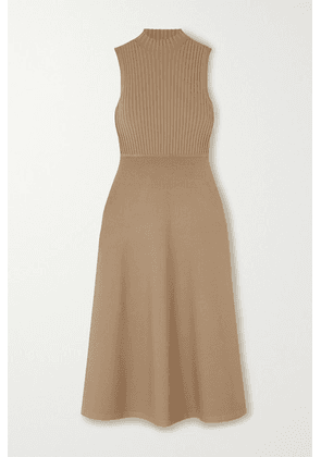 Theory - Ribbed Stretch-knit Midi Dress - Beige