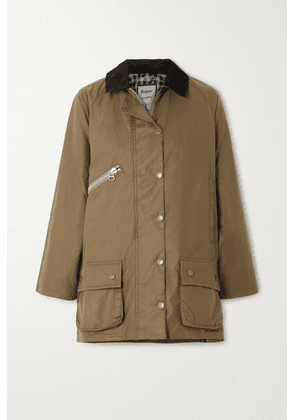 Barbour - + Alexachung Edith Corduroy-trimmed Waxed-cotton Jacket - Sand