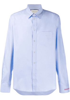 Gucci embroidered logo shirt - Blue