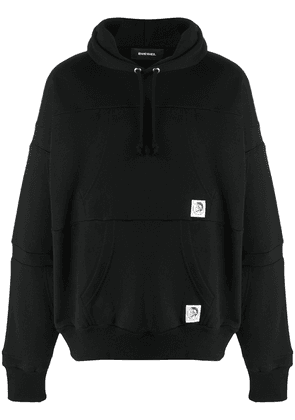 Diesel Reconstructed hoodie with logo patches - Black